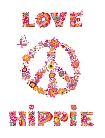 Hippie print with peace symbol, abstract colorful flowers, mushrooms and rainbow