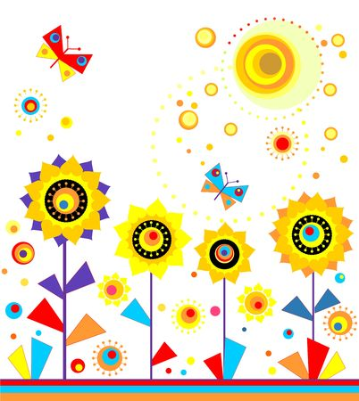 summer holidays: Childish applique with paper sunflowers, sun and butterflies