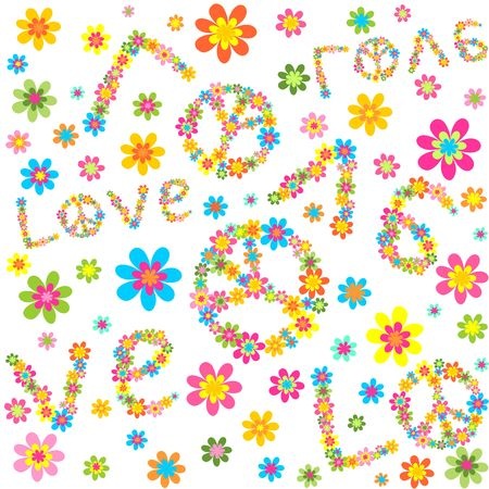 flowerpower: Hippie wallpaper with colorful flowers and love lettering Illustration