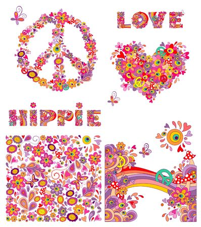 a fly agaric: Set for hippie wallpaper with funny butterflies, colorful flowers and mushrooms, peace flowers symbol, heart shape