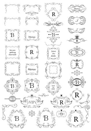 fashion jewelry: Vintage frames, page rulers and angles collection for boutique, restaurant, cafe, hotel, jewelry and fashion