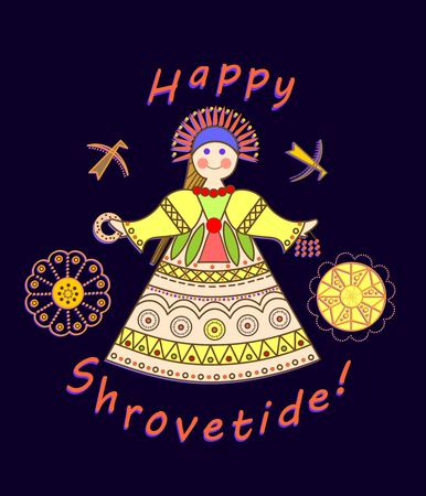 boublik: Greeting Shrovetide card with wishes and girl scarecrow