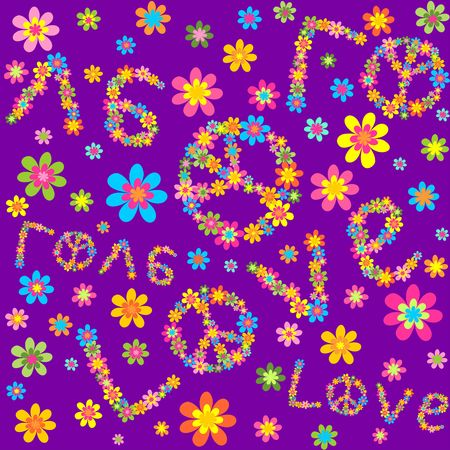 flowerpower: Hippie violet wallpaper with colorful flowers and love lettering