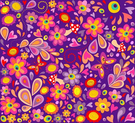 Hippie violet wallpaper with funny butterflies, colorful flowers and mushrooms