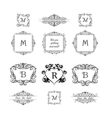 Collection of decorative frames for wedding invitation, birthday and greeting card. Vintage vignette for design template, monogram, menu card, restaurant, cafe, hotel, jewelry store