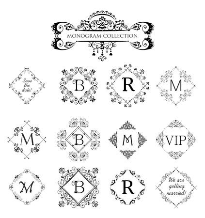 jewelry store: Set of vector decorative frames for wedding invitation, birthday greeting card, vintage monogram, frames and vignette for menu card, restaurant, cafe, hotel, jewelry store and templates Illustration