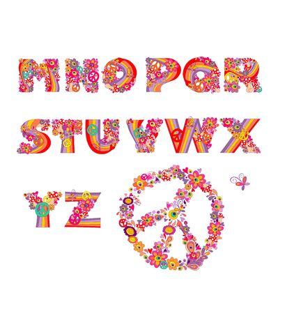 kiddie: Hippie alphabet. Illustration