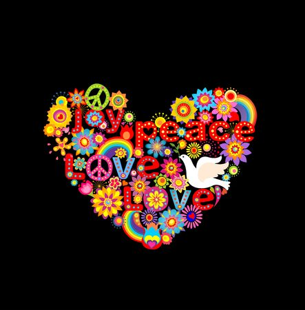 flowerpower: Applique with colorful flowers hippie heart and paper dove