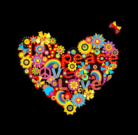 flowerpower: Applique with hippie heart shape with colorful abstract paper flowers