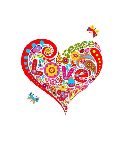 Funny applique with floral hippie heart shape