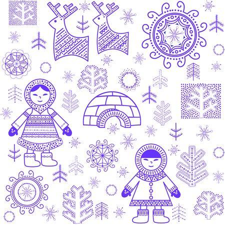 esquimales: Papel pintado abstracto del invierno con renos, árboles, inuit y iglú