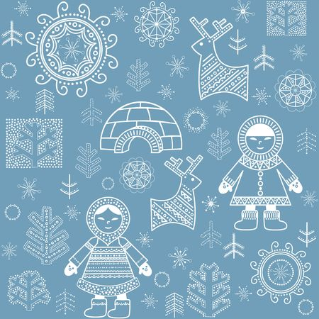 eskimos: Winter blue abstract wallpaper with inuit, reindeers, firs and igloo