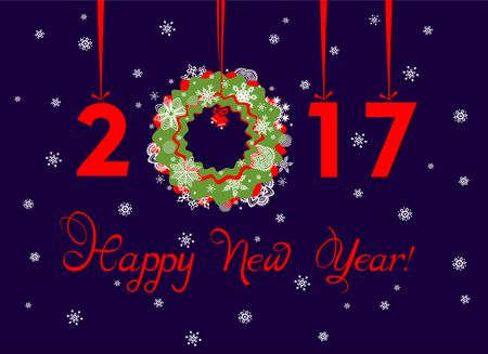 hanging out: Happy New Year 2017 greeting template with hanging xmas paper wreath and numbers