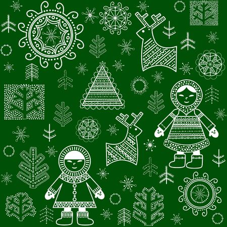 Winter paper green wrapper with inuit, reindeers and trees Illustration
