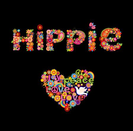 Print with hippie flowers lettering and heart shape Illustration