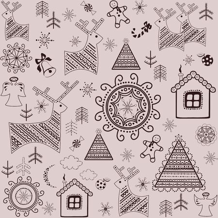 spicecake: Winter sweet wallpaper with reindeers, pine, xmas tree, gingerbread and little house