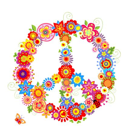 Peace flower symbol with colorful flowers Illustration