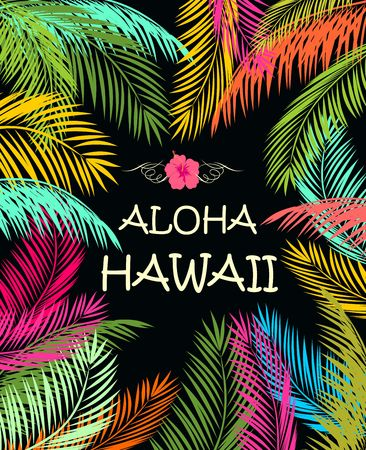 Aloha Hawaii summer beach party poster with colorful palm leaves