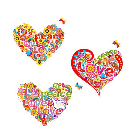 Collection of hippie heart floral shape isolated on white background