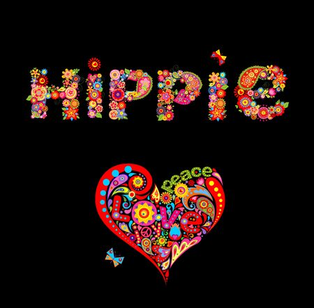 Flower colorful print with hippie lettering and heart flower shape isolated on black background