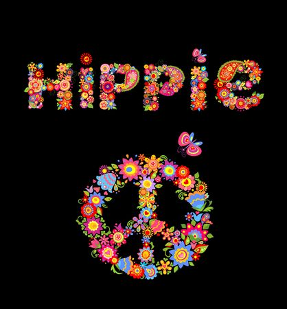 Flower colorful print with hippie lettering and peace flower symbol isolated on black background Illustration