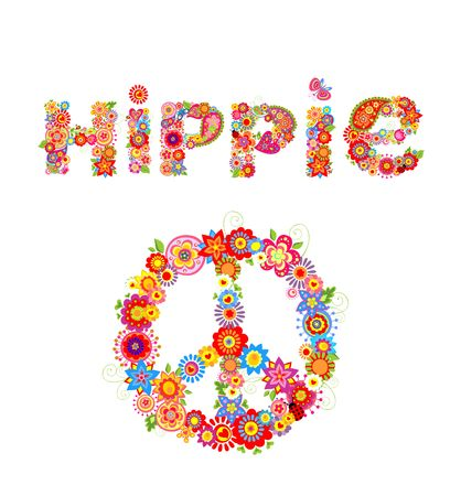Flower colorful print with hippie lettering and peace flower symbol