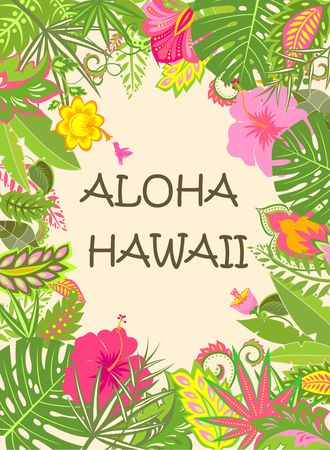 pacific: Hawaii summer poster with exotic tropical flowers and leaves