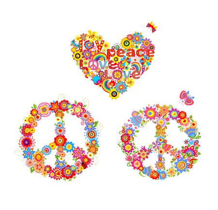 flowerpower: Hippie applique with peace flower symbol and heart flower shape with rainbow