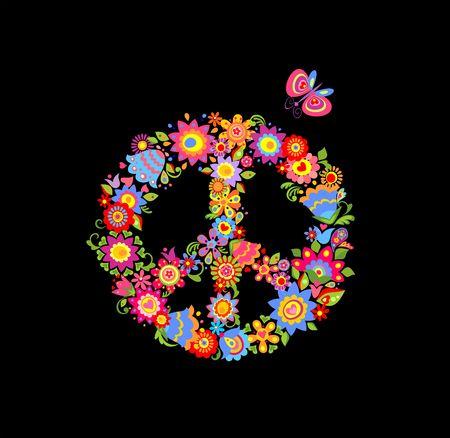 Peace flower symbol isolated on black background