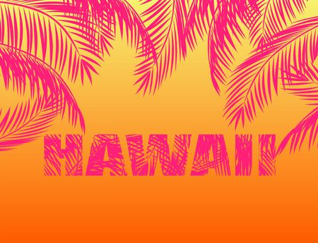 Summery print with palm leaves and Hawaii lettering