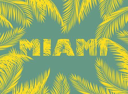 eslogan: Impresión amarilla de Miami con hojas de palma