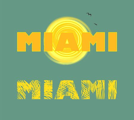 Yellow print with sun, seagull and Miami lettering