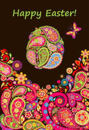 Easter banner with decorative floral egg with paisley