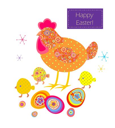 Funny easter applique with hen, coloured eggs and little chicken