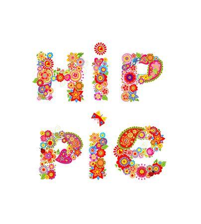 flowerpower: Hippie flowers lettering print