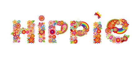 flowerpower: Hippie lettering with colorful flowers and rainbow