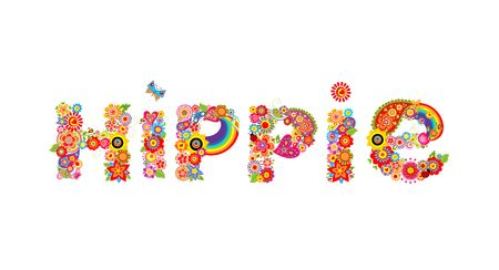 Hippie print lettering with colorful flowers and sunflowers