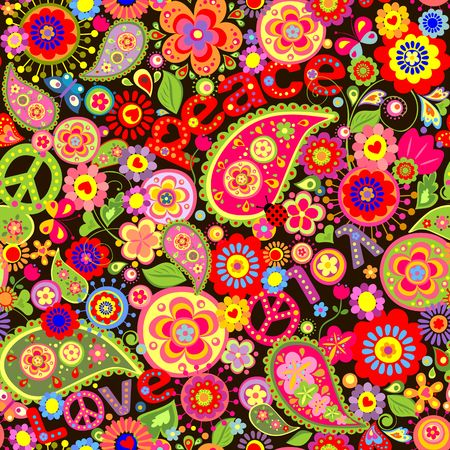 flowerpower: Wallpaper with colorful flower print wih hippie symbolic