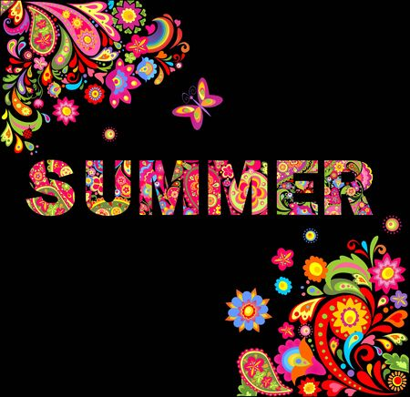 鲜花打印和夏天刻字