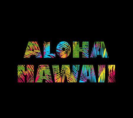 다채로운 팜 T 셔츠 인쇄 문자 알로하 하와이 잎