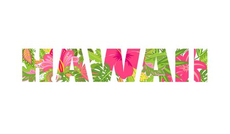 Shirt print with tropical leaves and flowers lettering Hawaii