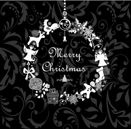 chinese holly: Black and white greeting card with funny xmas wreath Illustration