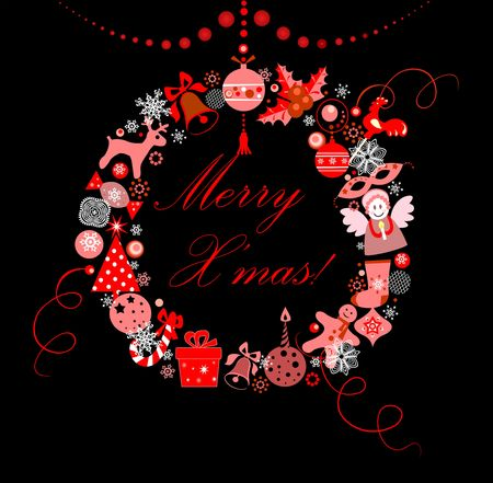 Funny xmas decorative hanging wreath with red baubles
