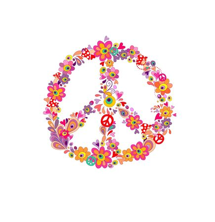 Hippie print with peace flower symbol isolated Illustration