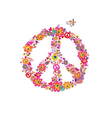 flowerpower: Hippie print with peace flower symbol with abstract flowers