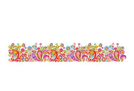 Zomerse grens met decoratieve kleurrijke bloemen afdruk