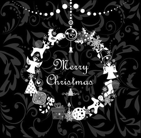 chinese holly: Black and white greeting cartoon with funny christmas wreath Illustration