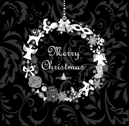 Black and white greeting postcard with funny xmas hanging wreath Çizim
