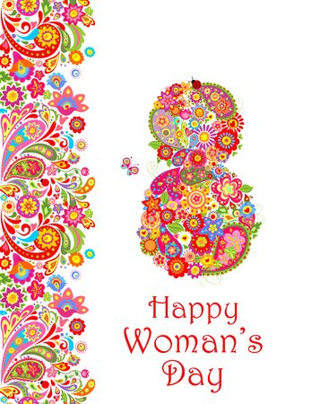 Greeting card with flowers decorative print and number 8 for Womans Day