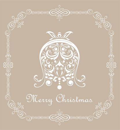cor: Christmas vintage pastel card with paper decorative cut out bell Illustration